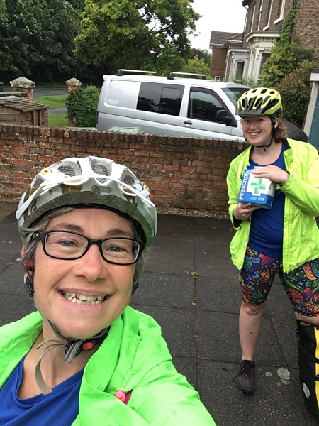 Debs and friend in cycling helmet with prescriptions