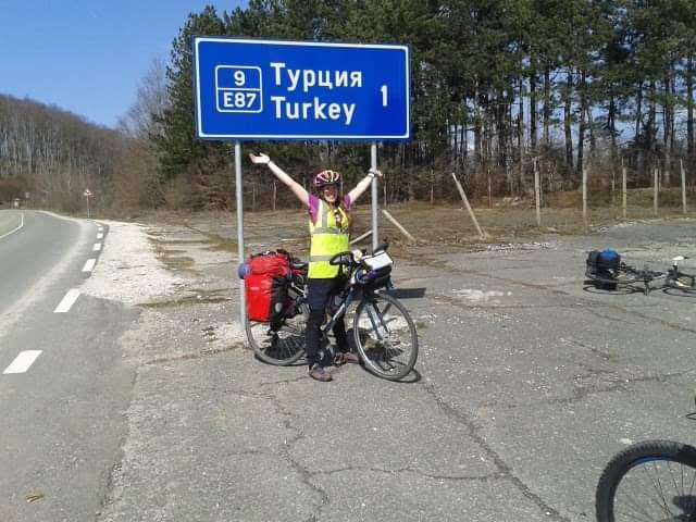 Laura on her bicycle in Turkey