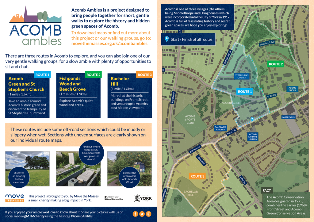 Map showing all routes of walks in Acomb, from move the Masses Acomb Ambles project