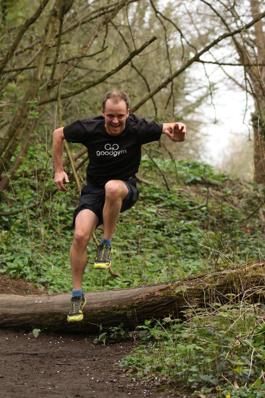 An image of Matt running and jumping
