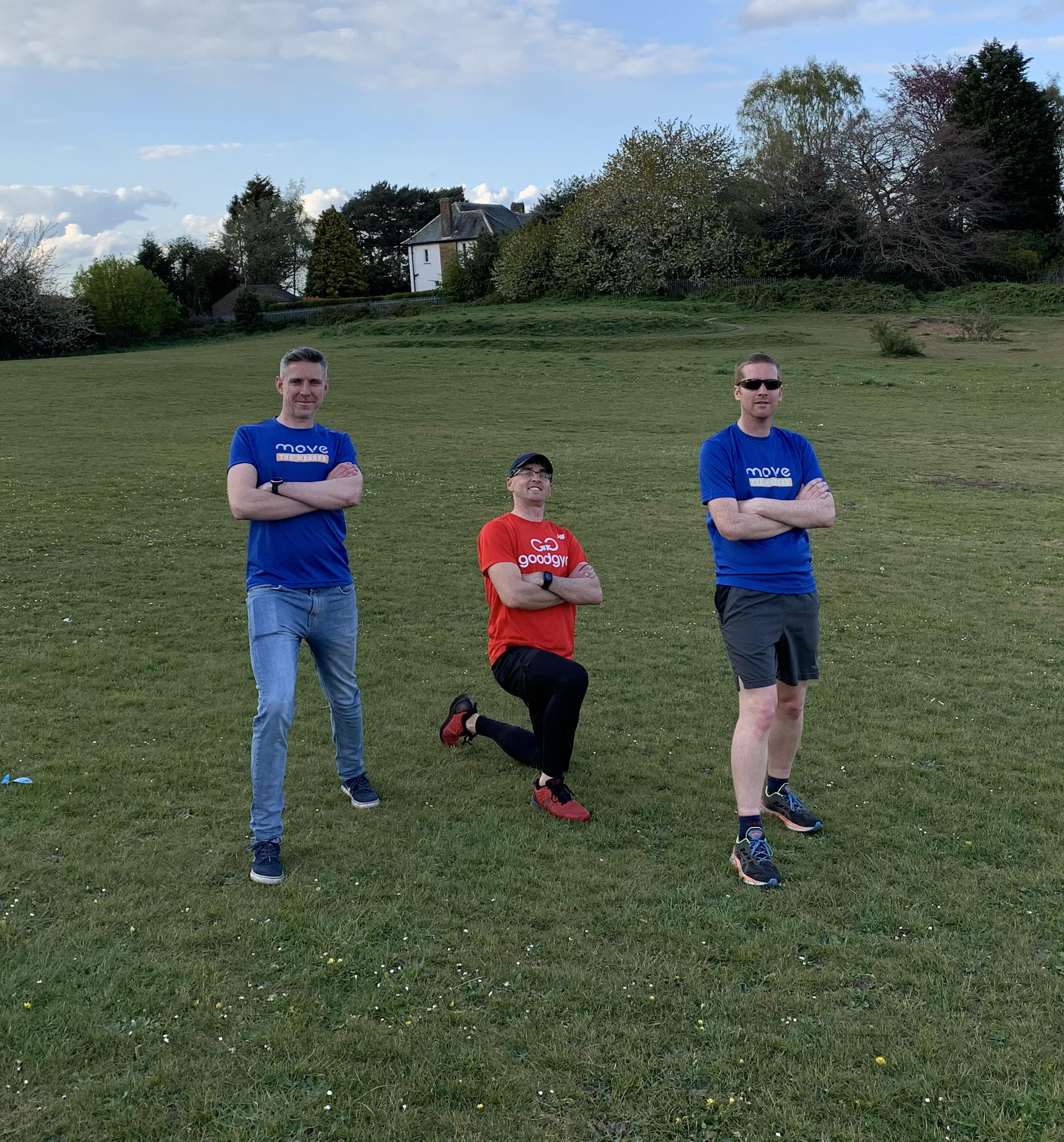 Ed, Michael, and Michal pose for a photo to promote their 25 hour challenge