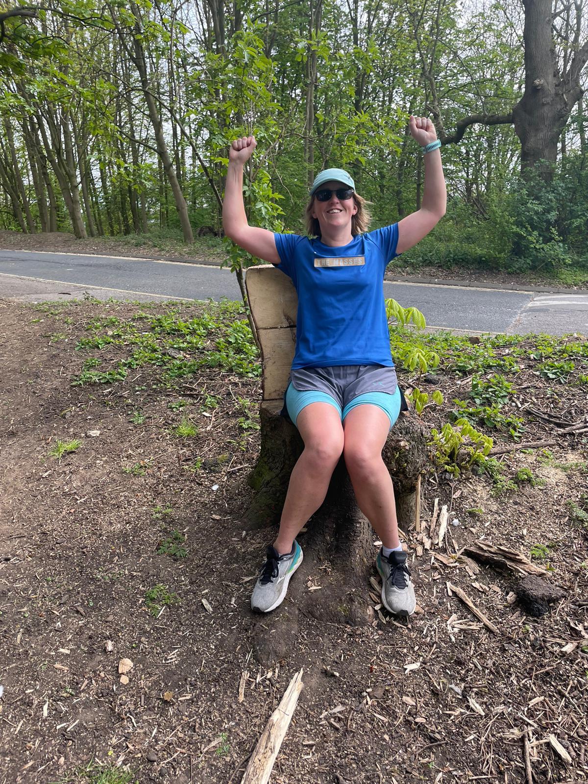 Nikki celebrates after her marathon