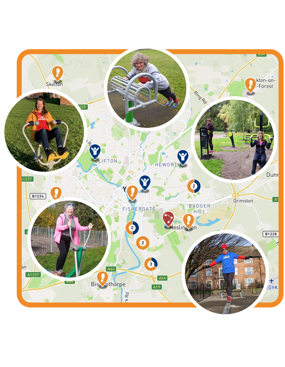 Graphic of Move Map in York area, highlighting outdoor gyms, trim trails and walks