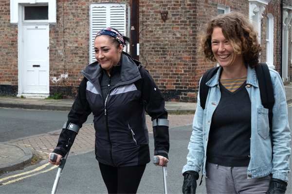 Bec and Charlene smiling on a Move Mates walk